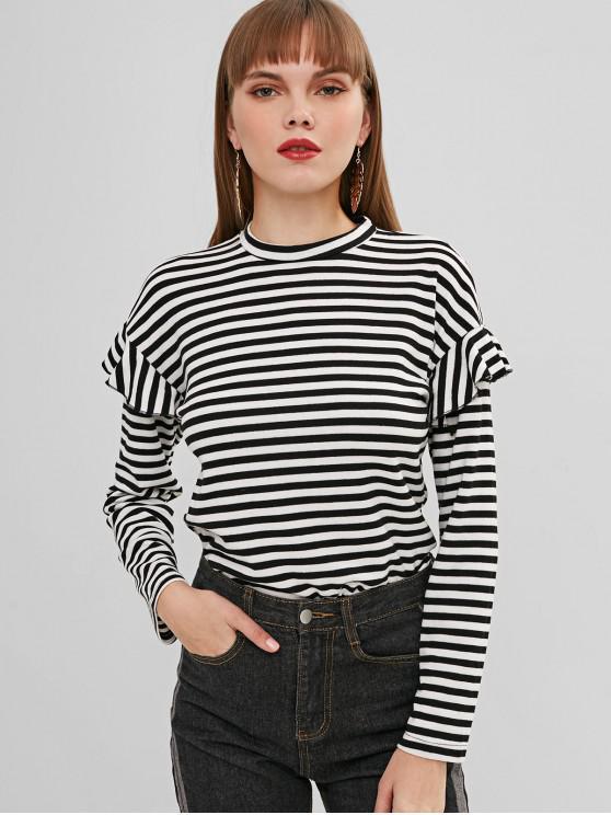 fancy Ruffles Striped Top - WHITE L