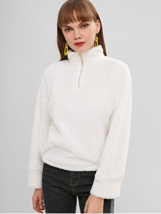 Sweat-shirt à Demi-zip en Fausse Fourrure - Blanc S