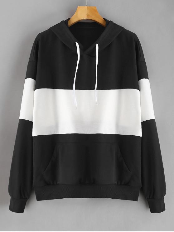 shop Two Tone Kangaroo Pocket Hoodie - BLACK M