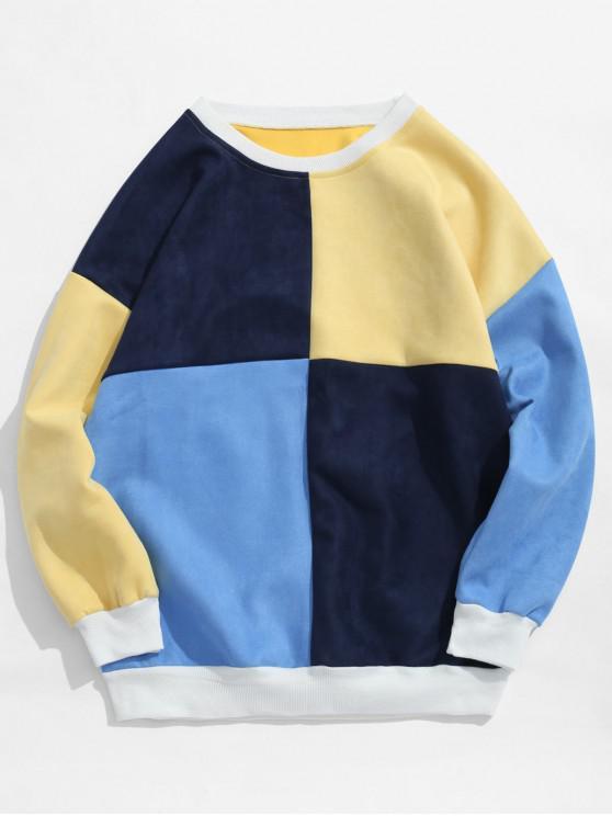 ladies ZAFUL Color Block Suede Sweatshirt - MULTI-C S