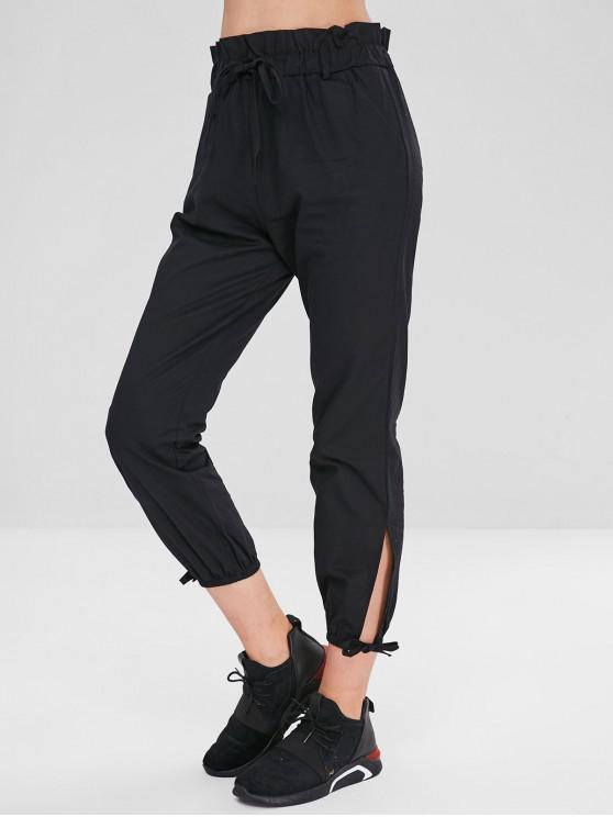 Pantalones divididos en color liso de cintura alta - Negro L