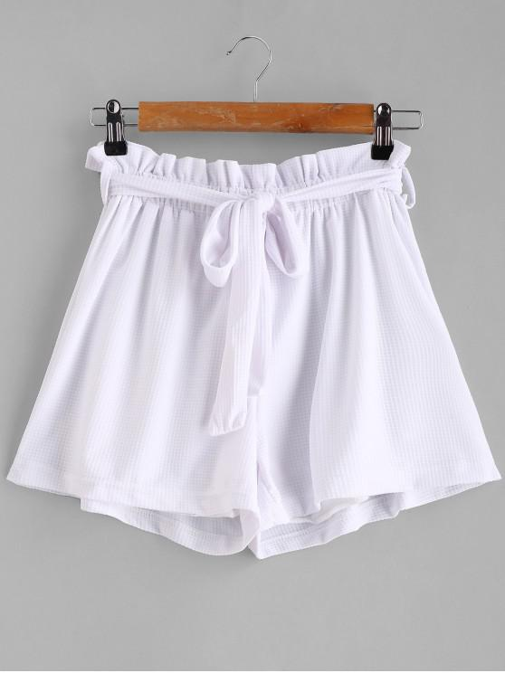 womens Tie Belt High Waisted Shorts - WHITE M