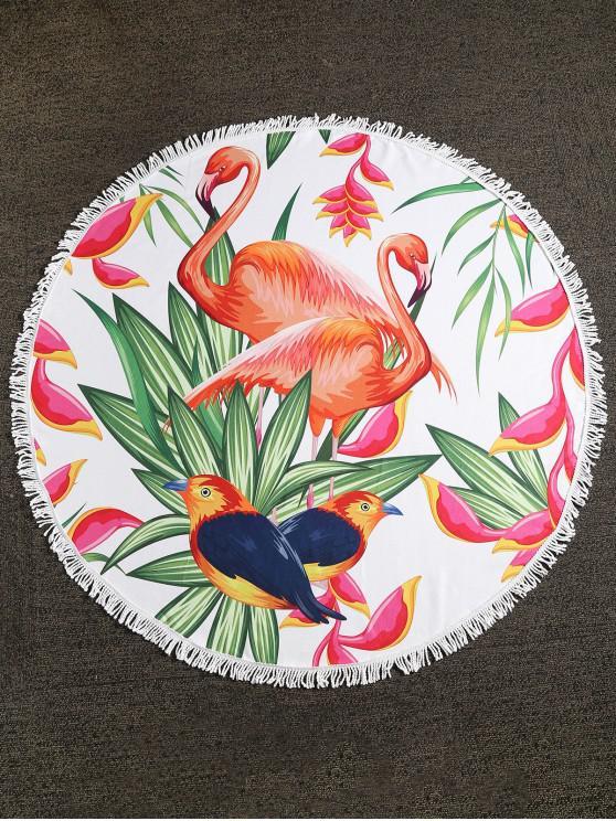 trendy Flamingo Birds Plant Fringed Beach Towel - MULTI-A ONE SIZE