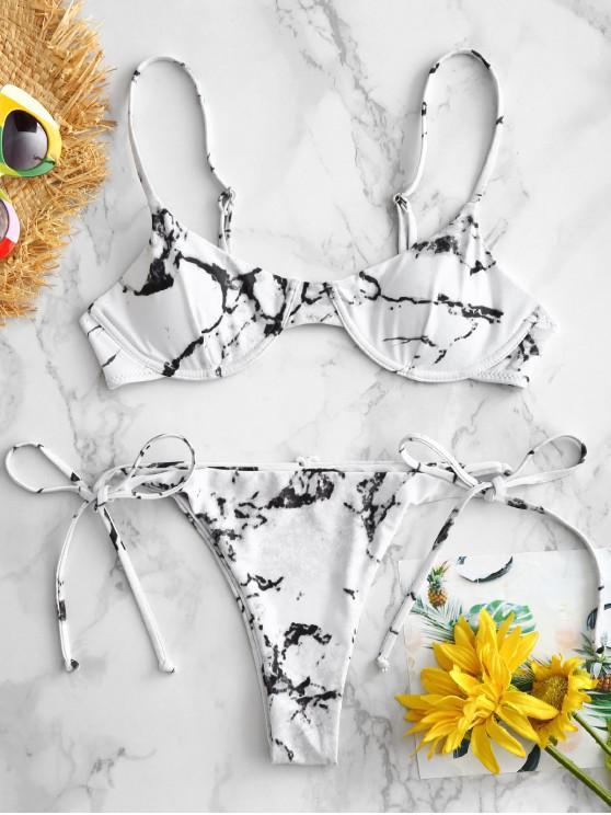 buy ZAFUL Marble Underwire Bikini Set - WHITE M