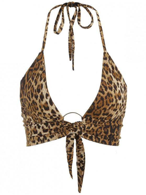 lady Tie Back Double Lined Snake Print Crop Top - LEOPARD L