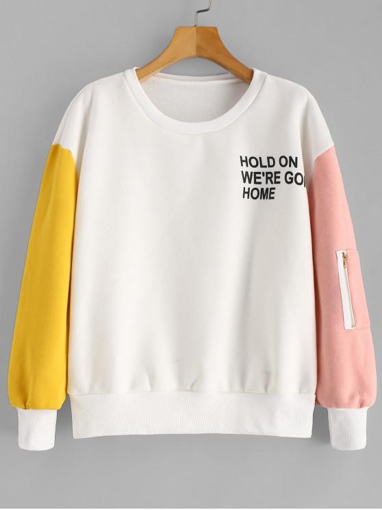 Sweat-shirt Graphique en Blocs de Couleurs à Doublure en Laine - Blanc M