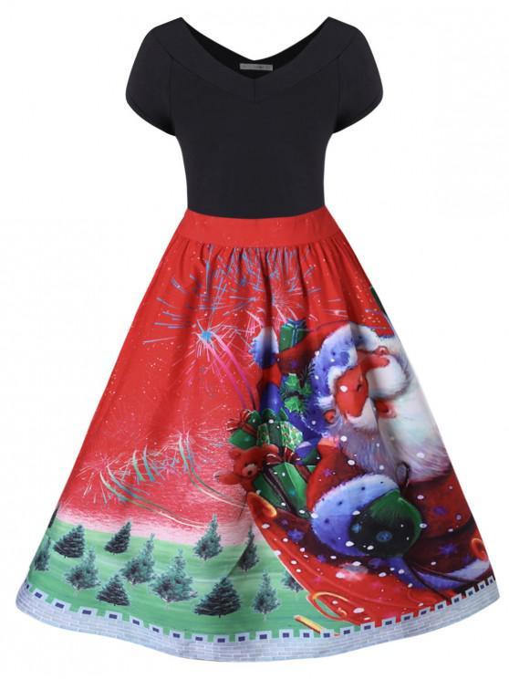 Plus Size Christmas V Neck Dress - roșu L