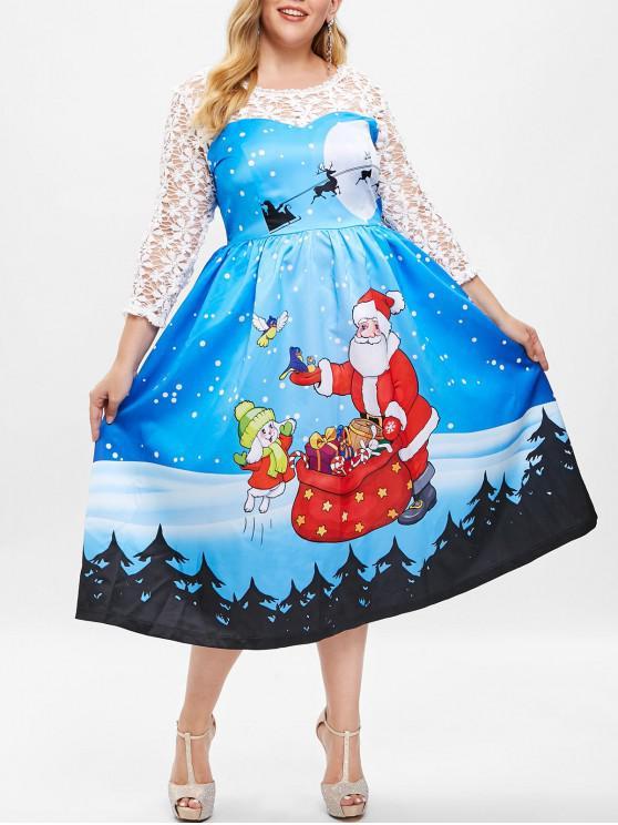 Plus Size Lace Insert Christmas Santa Print Dress - Deep Sky Blue L