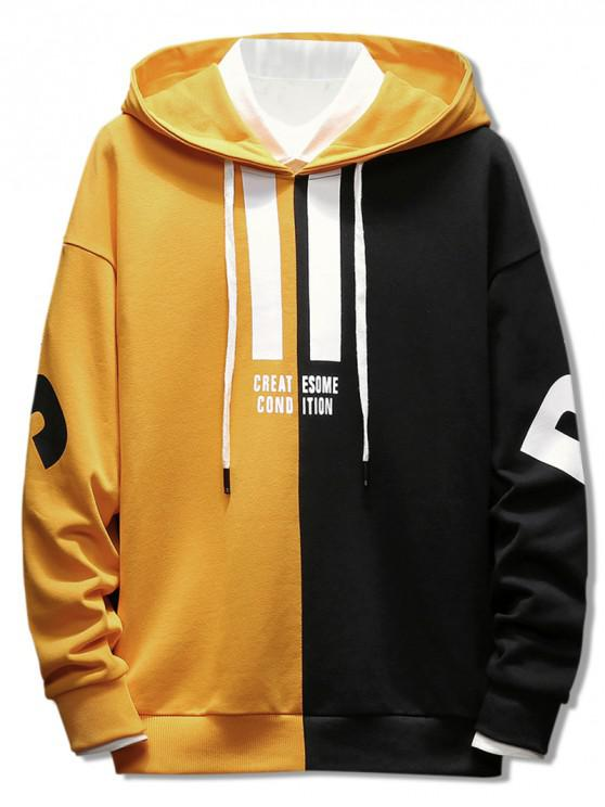 buy Contrast Color Letter Pullover Hoodie - BRIGHT YELLOW XL