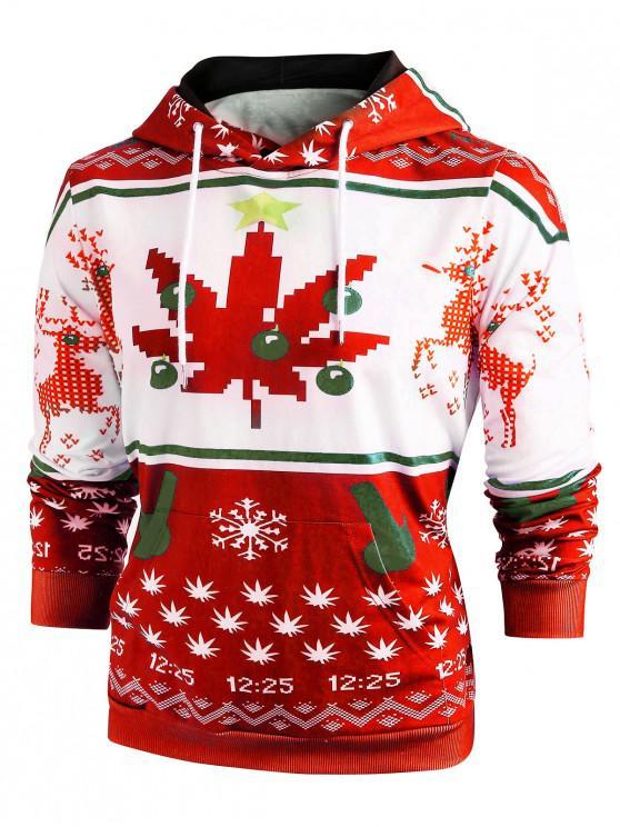 ladies Christmas Snowflake Print Long Sleeve Hoodie - RED 2XL