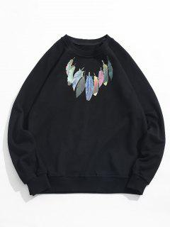 Chest Feather Print Casual Sweatshirt - Black Xl