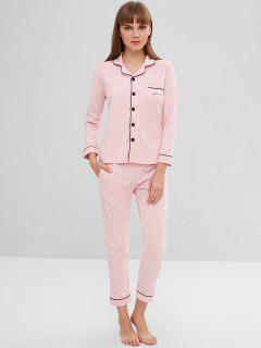 Graphic Contrast Trim Button Up Pajama Set - Pig Pink 2xl