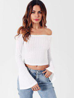 Off Shoulder Flare Sleeves Knitwear - White S