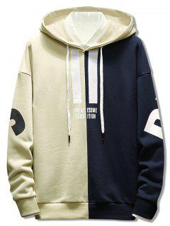 Contrast Color Letter Pullover Hoodie - Beige Xl