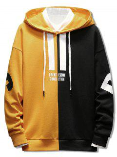 Contrast Color Letter Pullover Hoodie - Bright Yellow L