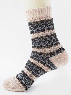 Ethnic Pattern Thick Crew Socks - Khaki Rose