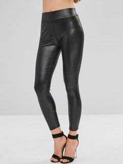 Tights Faux Leather Leggings - Black M
