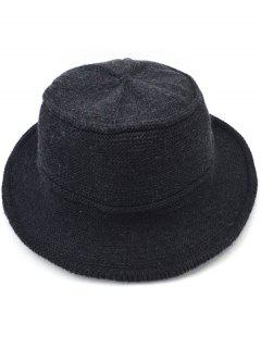 Solid Color Knitted Bucket Hat - Black