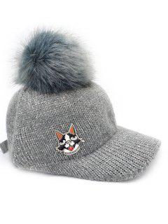 Puppy Dot Fuzzy Ball Knit Baseball Cap - Gray