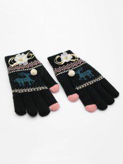 Christmas Elk Rhinestone Full Finger Gloves - Black
