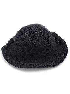 Solid Color Knit Bucket Hat - Black