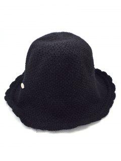 Solid Color Knitted Holiday Hat - Black