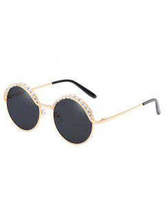Stylish Faux Pearl Round Sunglasses - Black Eel
