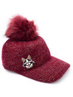 Puppy Dot Fuzzy Ball Knit Baseball Cap - Red Wine
