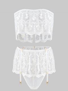 Mesh Embroidered Tube And Garter Set - White