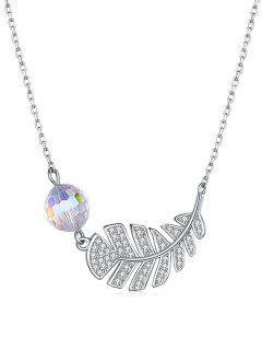 Leaf Shape Faux Crystal Embellished Necklace - Transparent
