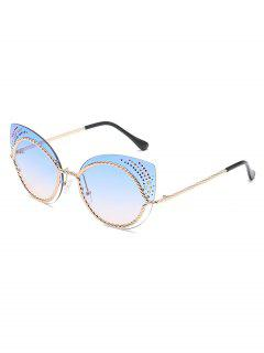 Vintage Rhinestone Rimless Catty Sunglasses - Deep Sky Blue