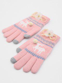 Christmas Elk Rhinestone Full Finger Gloves - Pink