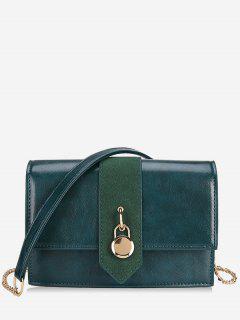 Small Lock Printed PU Crossbody Bag - Medium Sea Green