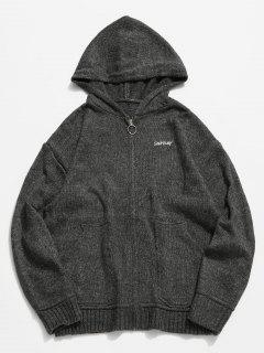 Full Zipper Hooded Knit Sweater - Carbon Gray Xl