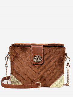 Flower Hasp Design Crossbody Bag - Brown