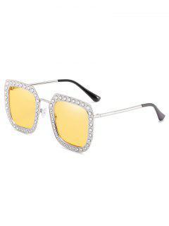 Novelty Rhinestone Inlaid Squared Sunglasses - Sun Yellow