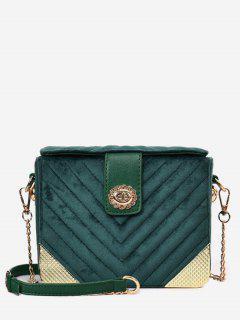 Flower Hasp Design Crossbody Bag - Deep Green