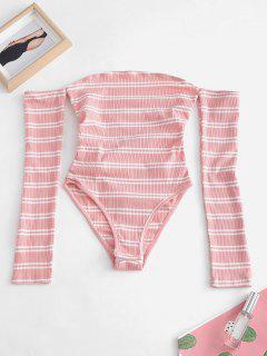 Lacing Snap Crotch Off The Shoulder Bodysuit - Rose M