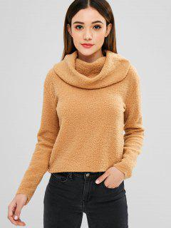Fluffy Cowl Neck Sweater - Camel Brown M