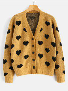 Heart Button Up Cardigan - Camel Brown