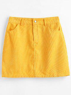 A-line Corduroy Skirt - Goldenrod S