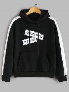 Fleece Line Pockets Graphic Hoodie - Black 1xl