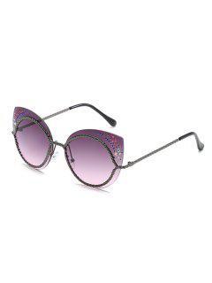 Vintage Rhinestone Rimless Catty Sunglasses - Black