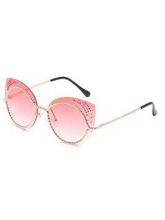 Vintage Rhinestone Rimless Catty Sunglasses - Pink