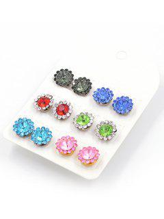 Faux Crystal Floral Design Stud Earrings - Multi