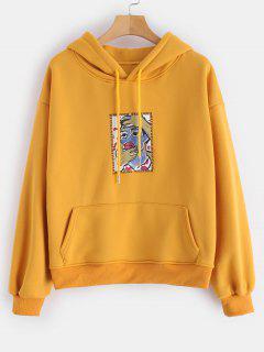 Graphic Fleece Line Pockets Hoodie - Bee Yellow L