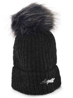 Solid Color Fuzzy Ball Knit Cap - Black