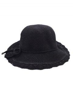 Bowknot Solid Color Knit Bucket Hat - Black