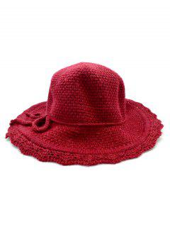 Bowknot Solid Color Knit Bucket Hat - Lava Red