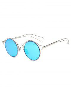 Metal Frame Hollow Out Round Sunglasses - Deep Sky Blue
